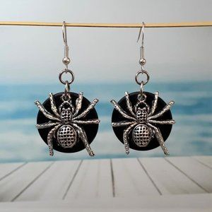 Black Sea Glass Wolf Spider Earrings